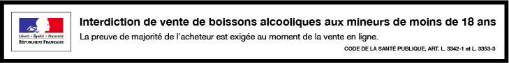 Interdiction de vente de boissons alcooliques aux mineurs de moins de 18 ans.